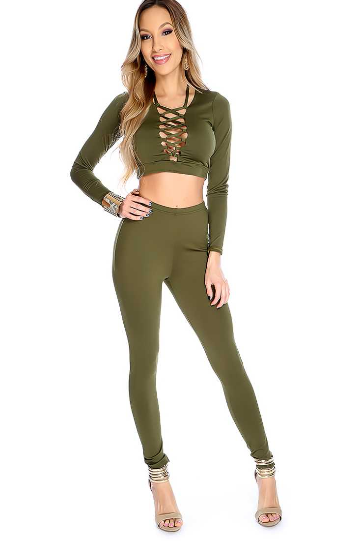 Sexy Olive Lace Up High Waist 2 Piece Outfit