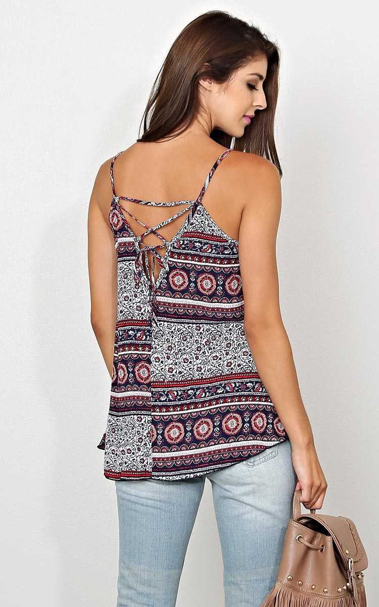 Floral Fest Lace Up Woven Top - XLGE - Navy Combo in Size X-Large by Styles For Less