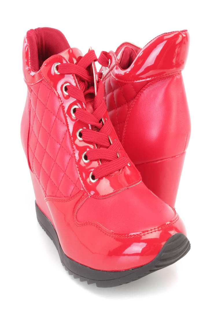 Red Quilted Lace Up Sneaker Wedges Faux Leather