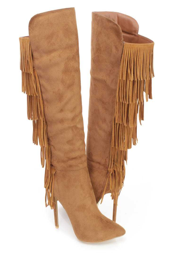 Tan Fringe Pointy Toe High Heel BootsFaux Suede