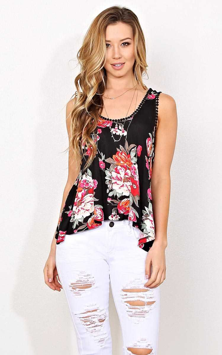 Flower Child Knit Tank - MED - Black Combo in Size Medium by Styles For Less