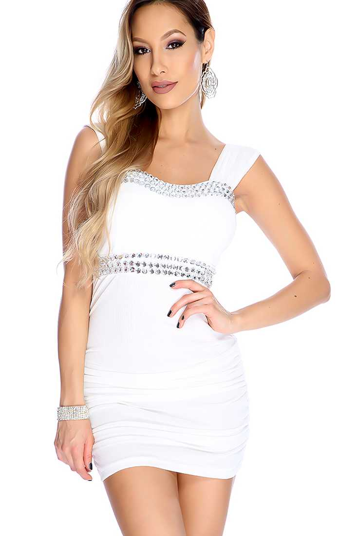 Sexy White Gemstone Accents Ruched Party Dress