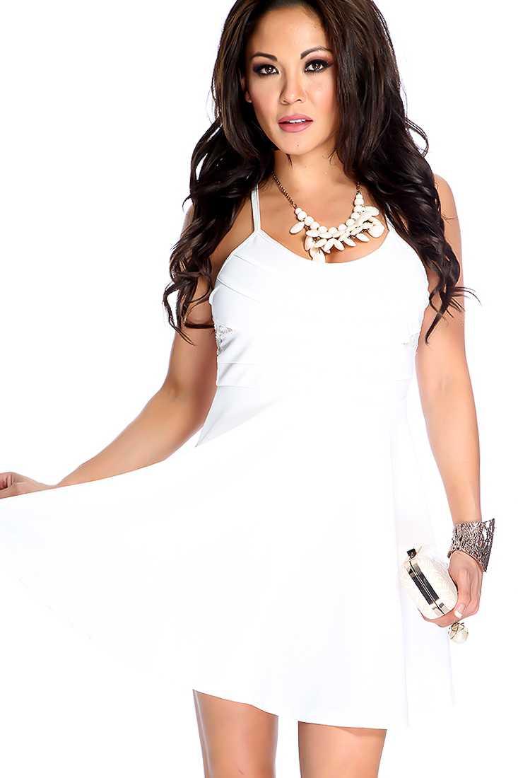 White Floral Lace Spaghetti Strap A-line Party Dress