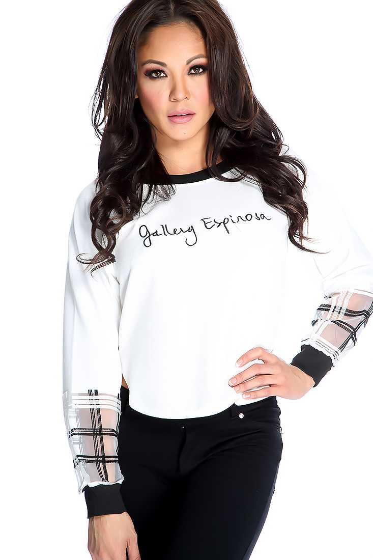 White Graphic Print Long Sleeve Sweater Top