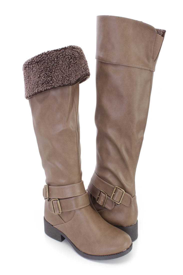 Taupe Faux Shearing Cuffed Riding Boots Faux Leather