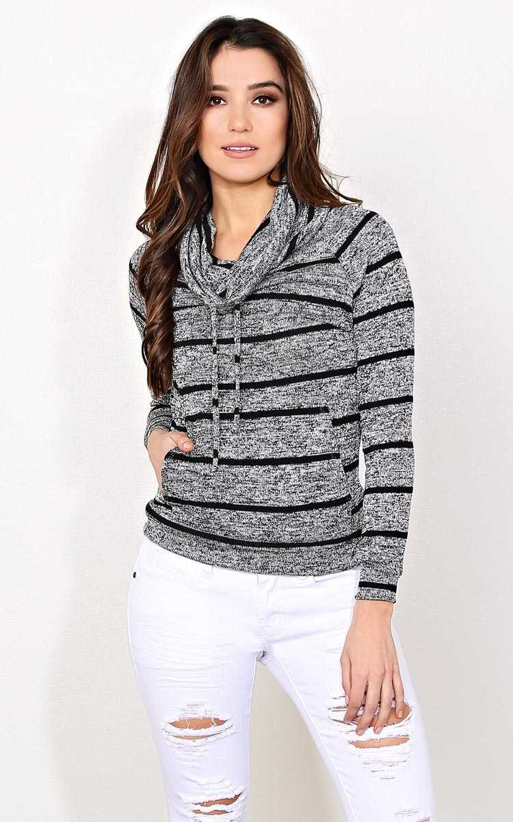 Mud Run Knit Cowl Neck Top - - Black Combo in Size by Styles For Less