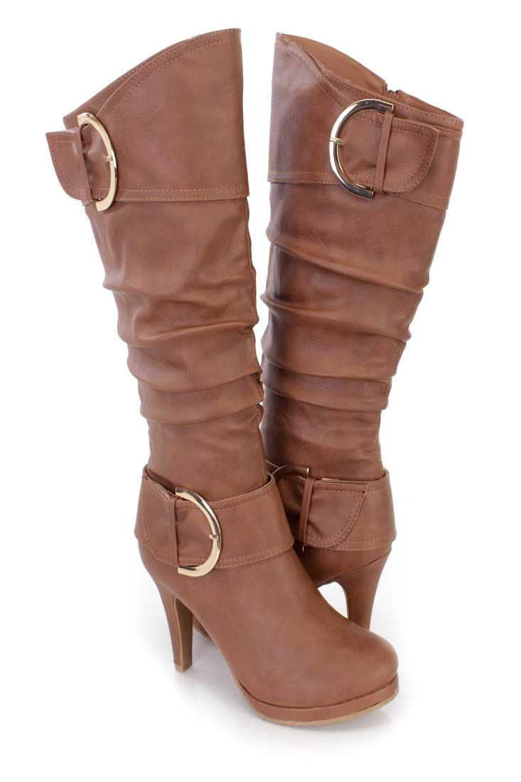 Tan Slouchy Buckled High Heel Boots Faux Leather