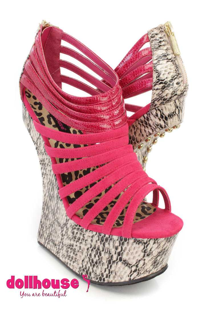 Fuchsia Strappy Snake Skin Platform Gravity Wedges Faux Suede