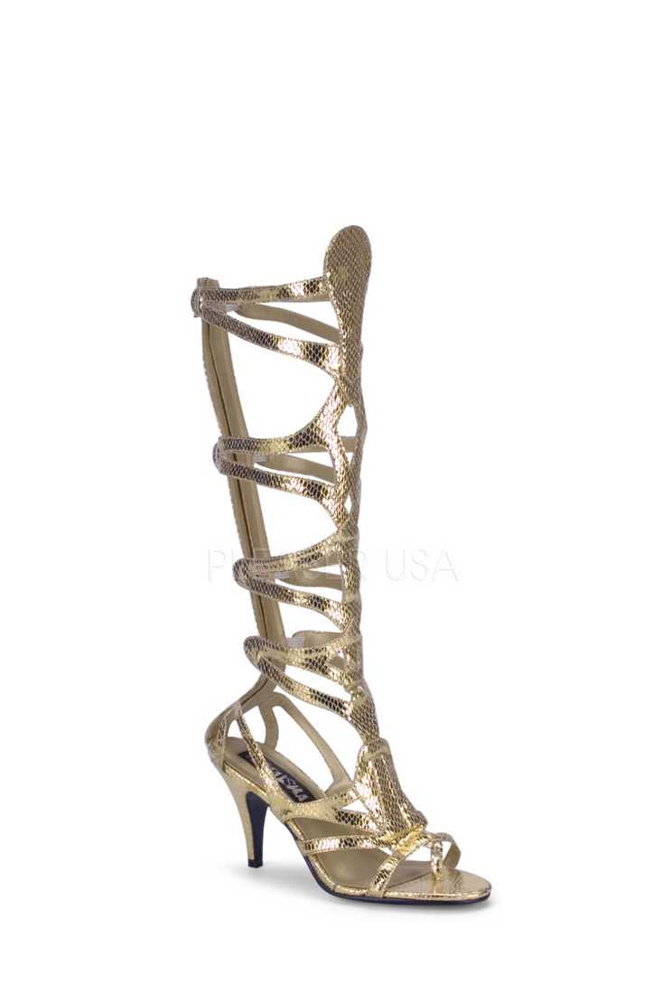 Gold Snake Skin Textured Goddess High Heels Faux Leather