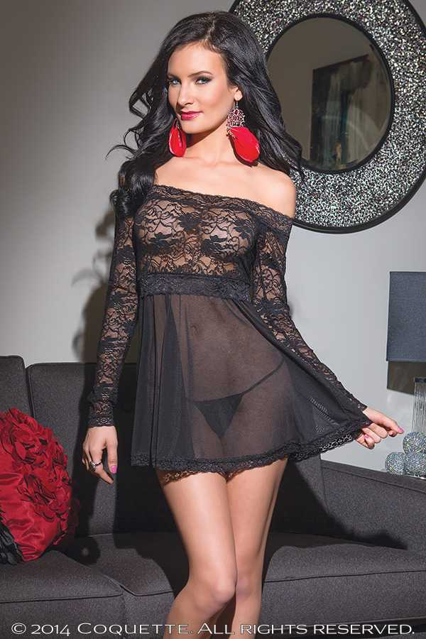 Black Lace Mesh Off Shoulder 2 Pc. Sexy Babydoll