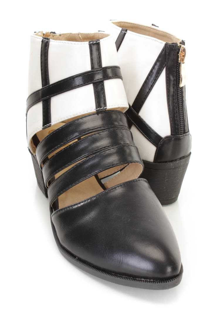 Black White Two Tone Strappy Flats Faux Leather