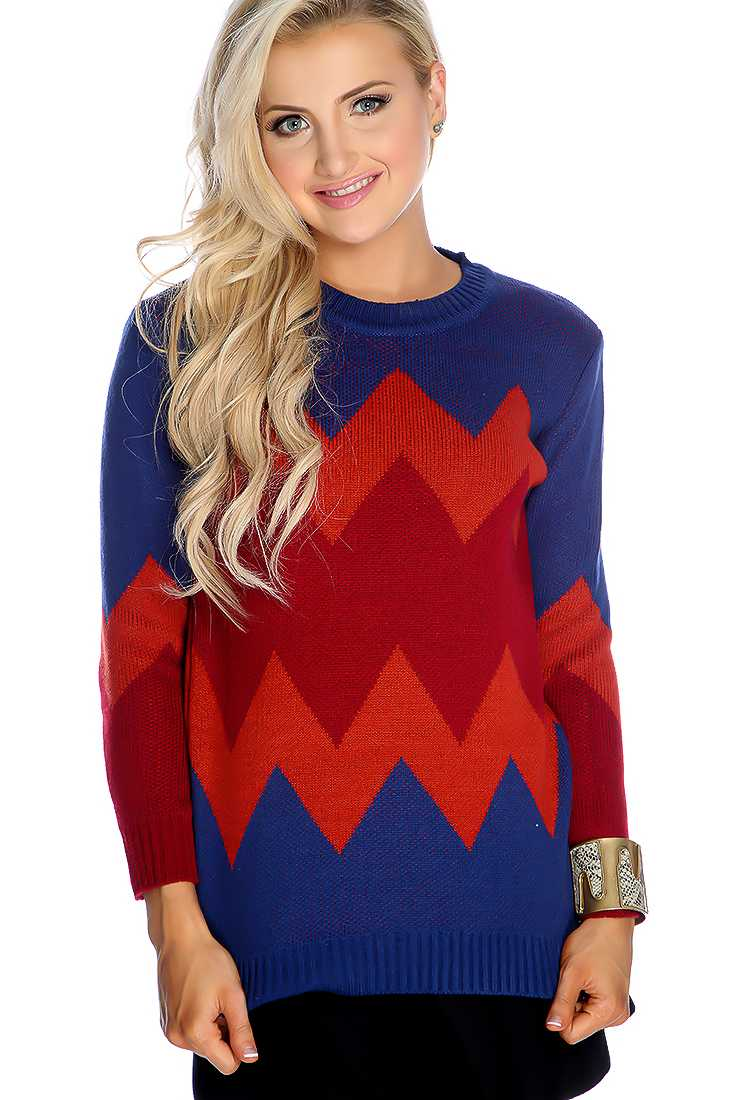Royal Blue Red Long Sleeve Sweater
