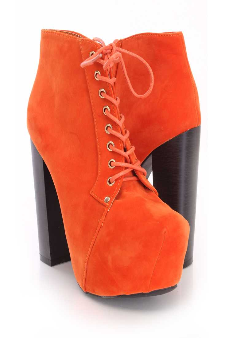Orange Lace Up Stitched Closed Toe Booties