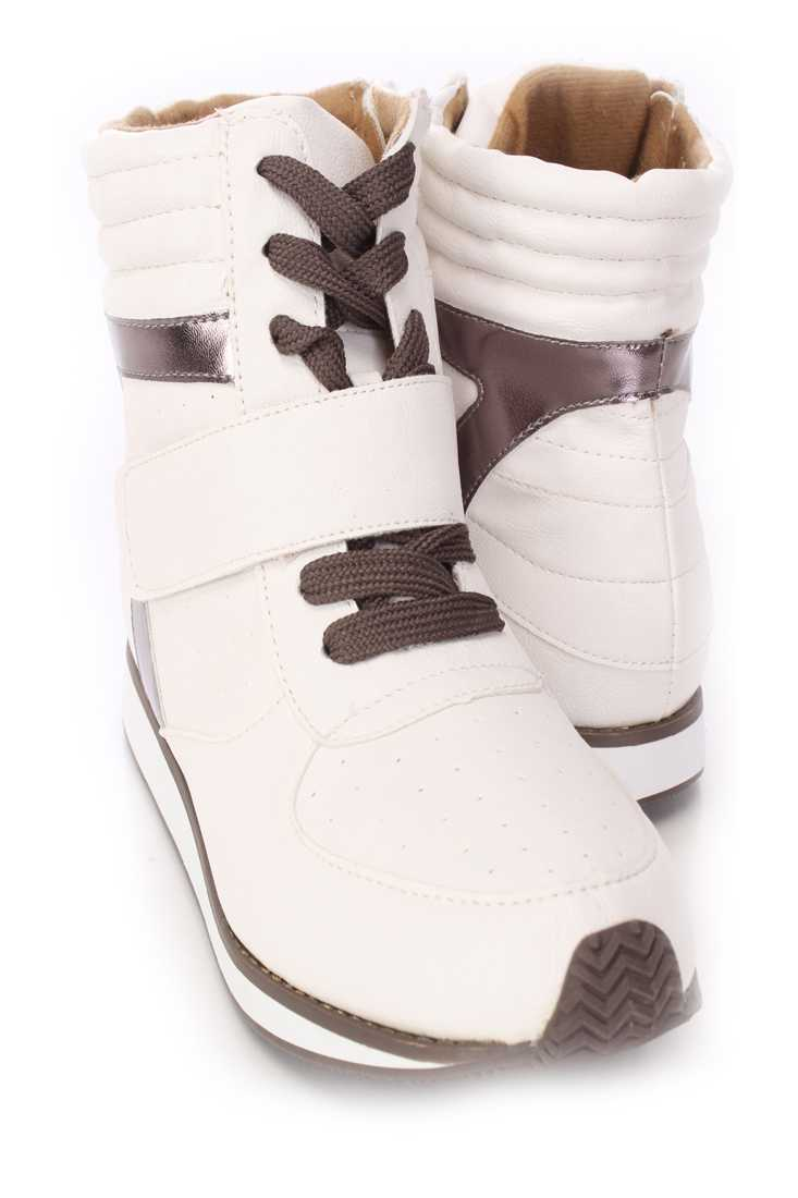 White Lace Up Mid Strap Sneakers Faux Leather