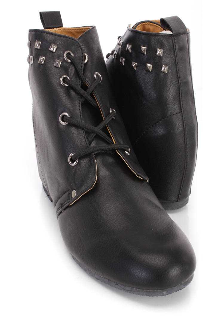 Black Studded Lace Up Ankle Wedge Booties Faux Leather