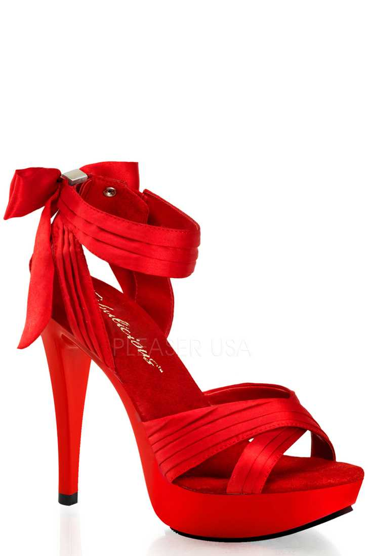 Red Pleated Criss Cross Strap High Heels Satin
