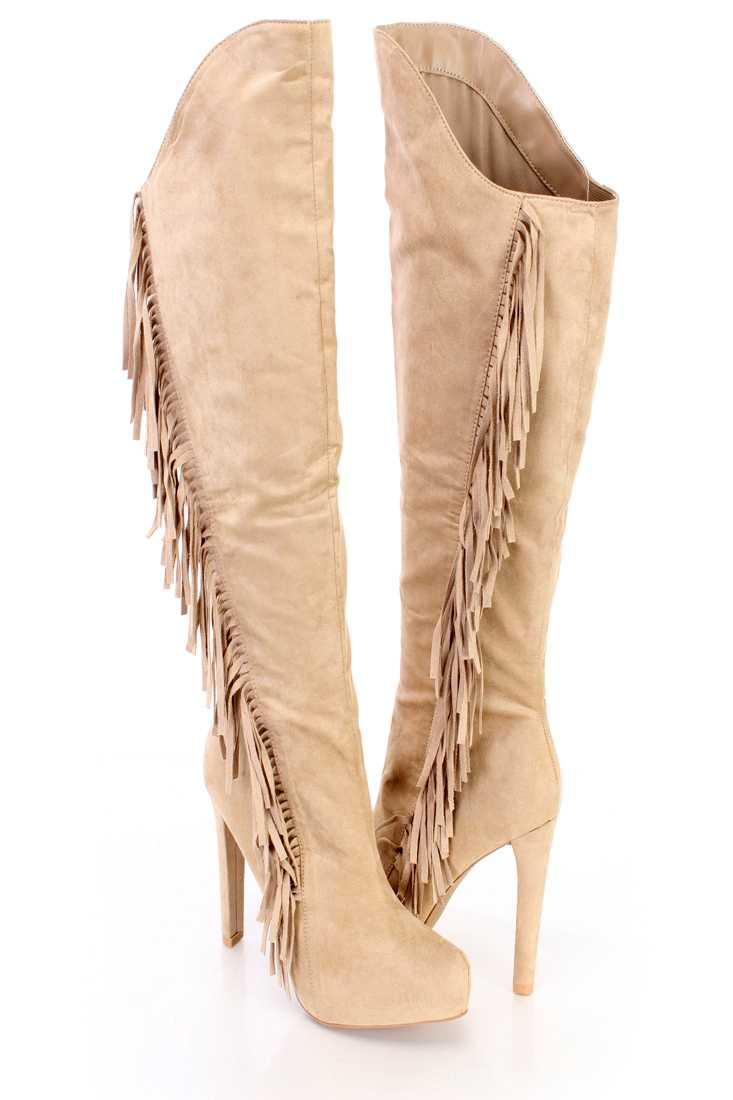 Taupe Fringe Knee High Heel Boots Faux Suede