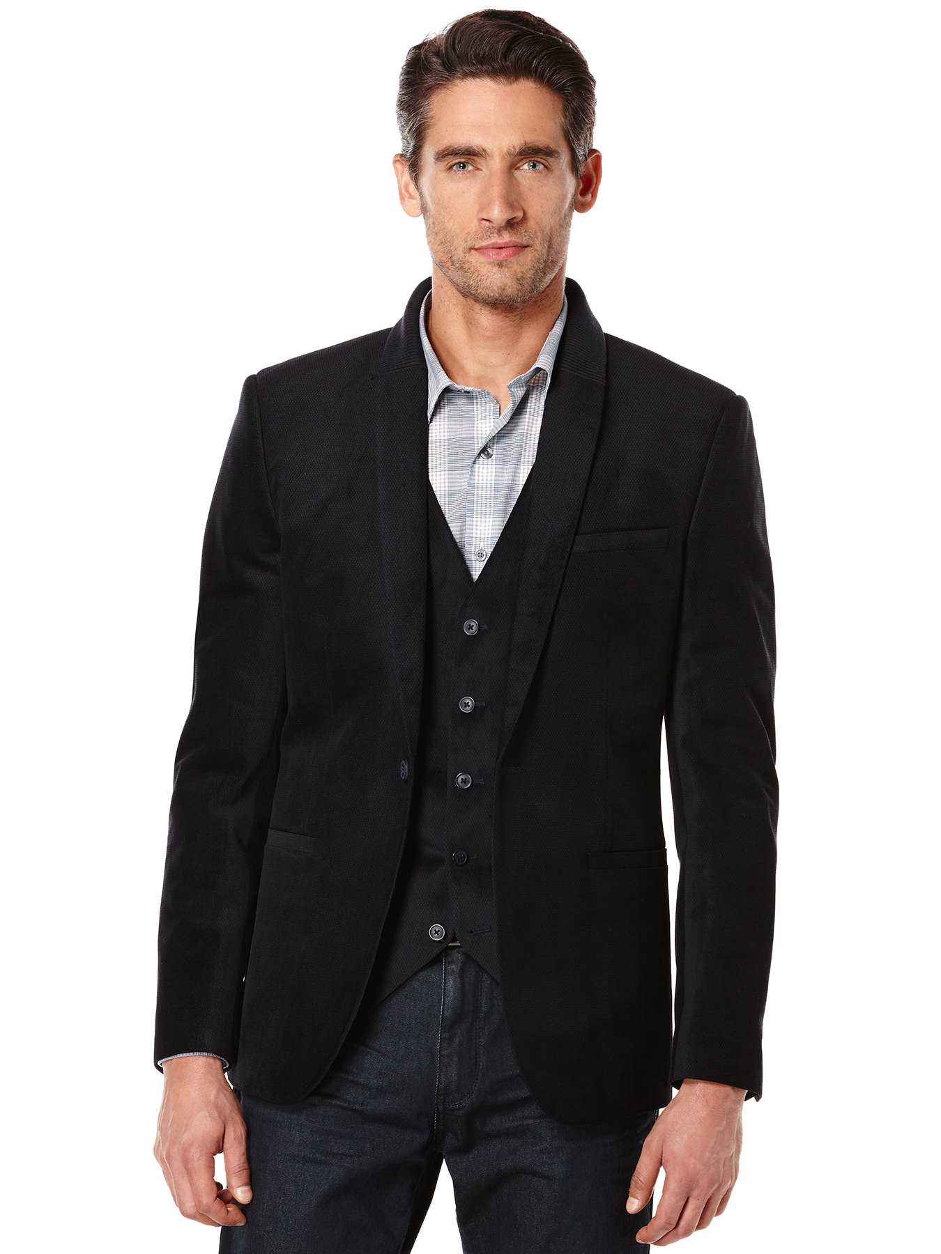 Perry Ellis Printed Velvet Party Suit Jacket