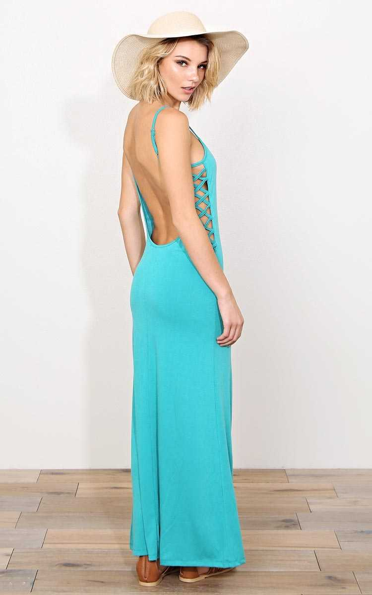 Waves Plunging Back Knit Maxi Dress - XLGE - in Size X-Large by Styles For Less
