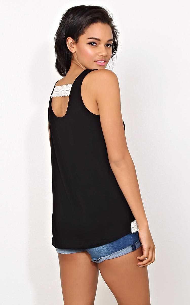Layla Crochet Bar Knit Tank - - Black in Size by Styles For Less