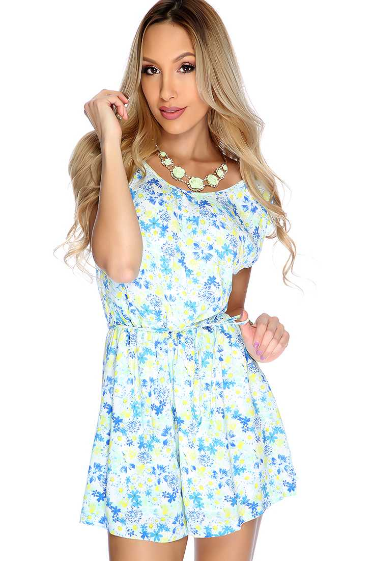 Sexy Blue Floral Print Cut Out Romper