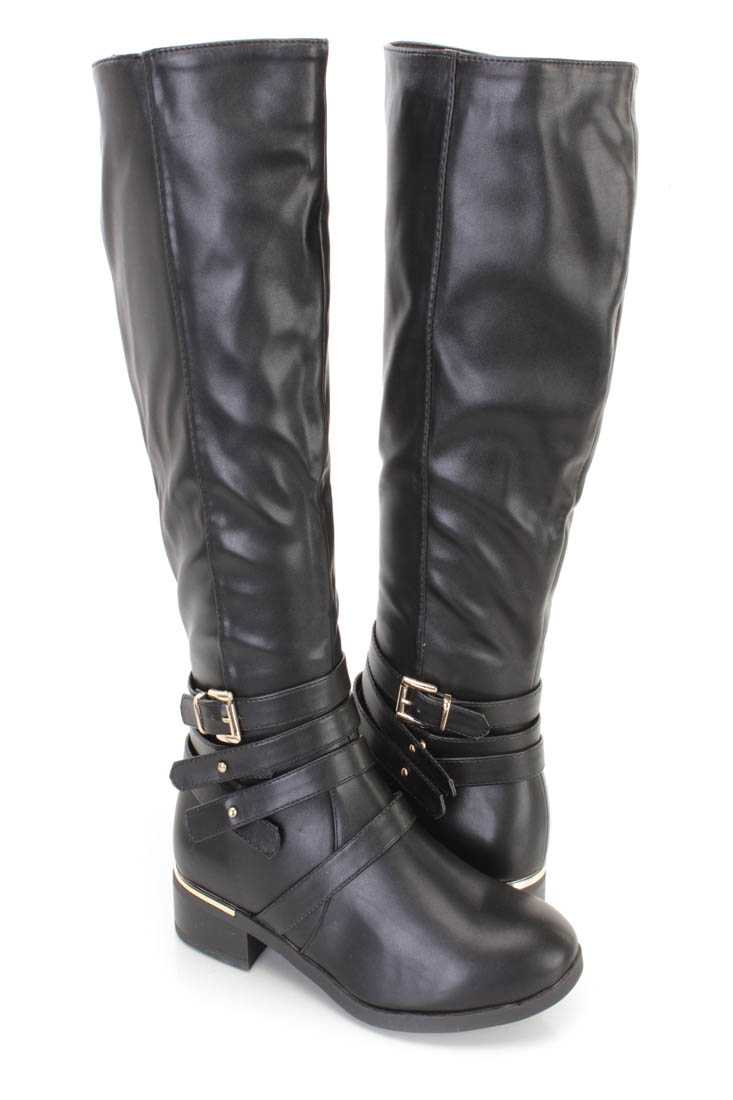 Black Strappy Ridding Boots Faux Leather