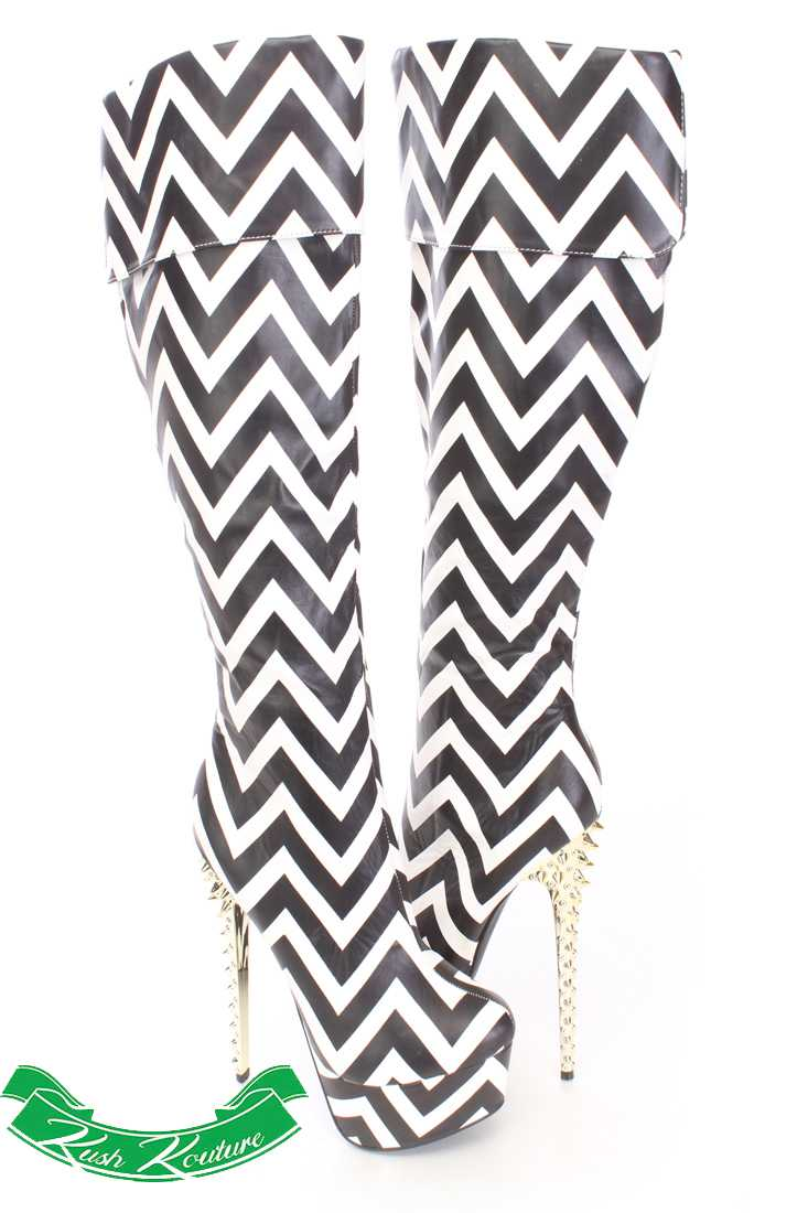 Chevron Cuffed Knee High Boots Faux Leather