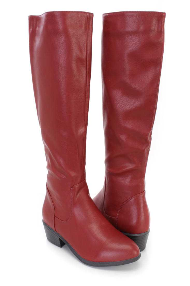 Wine Knee High Riding Boots Faux Leather
