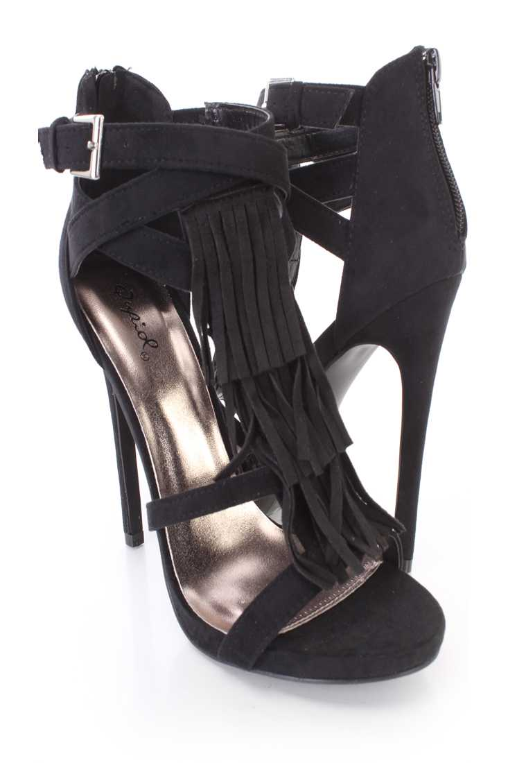 Black Fringe Strappy Single Sole High Heels Faux Suede