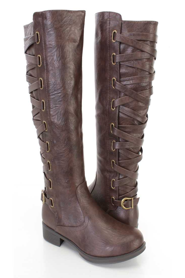 Brown Lace Up Shaft Ridding Boots Faux Leather