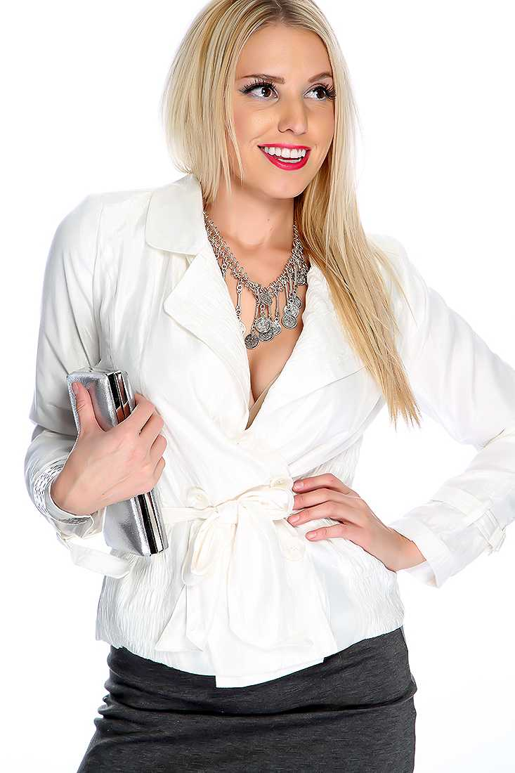 White Double Breasted Belted Fall Coat