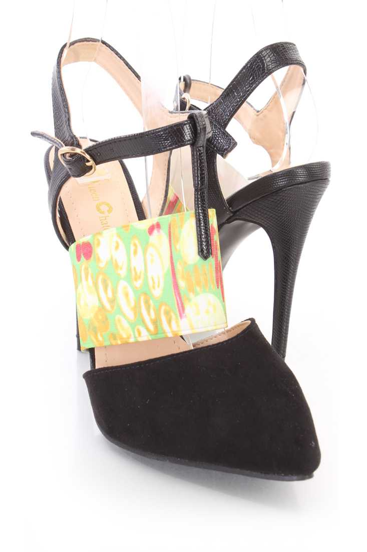 Black Printed Mid Strap Single Sole High Heels Faux Suede