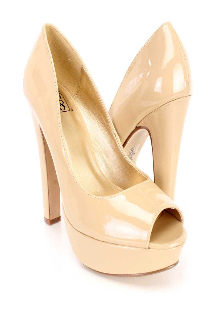 Dark Beige Peep Toe Chunky High Heels Patent Faux Leather