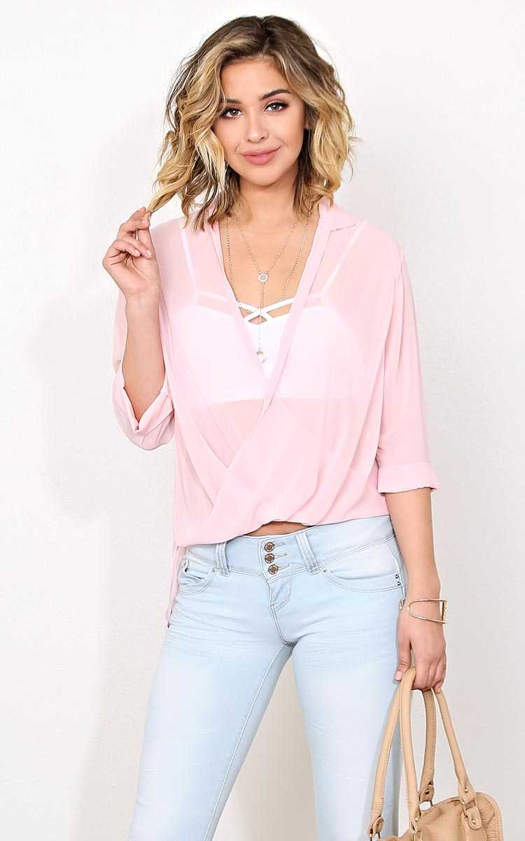 Sweet Surplice Woven Top - - Blush in Size by Styles For Less