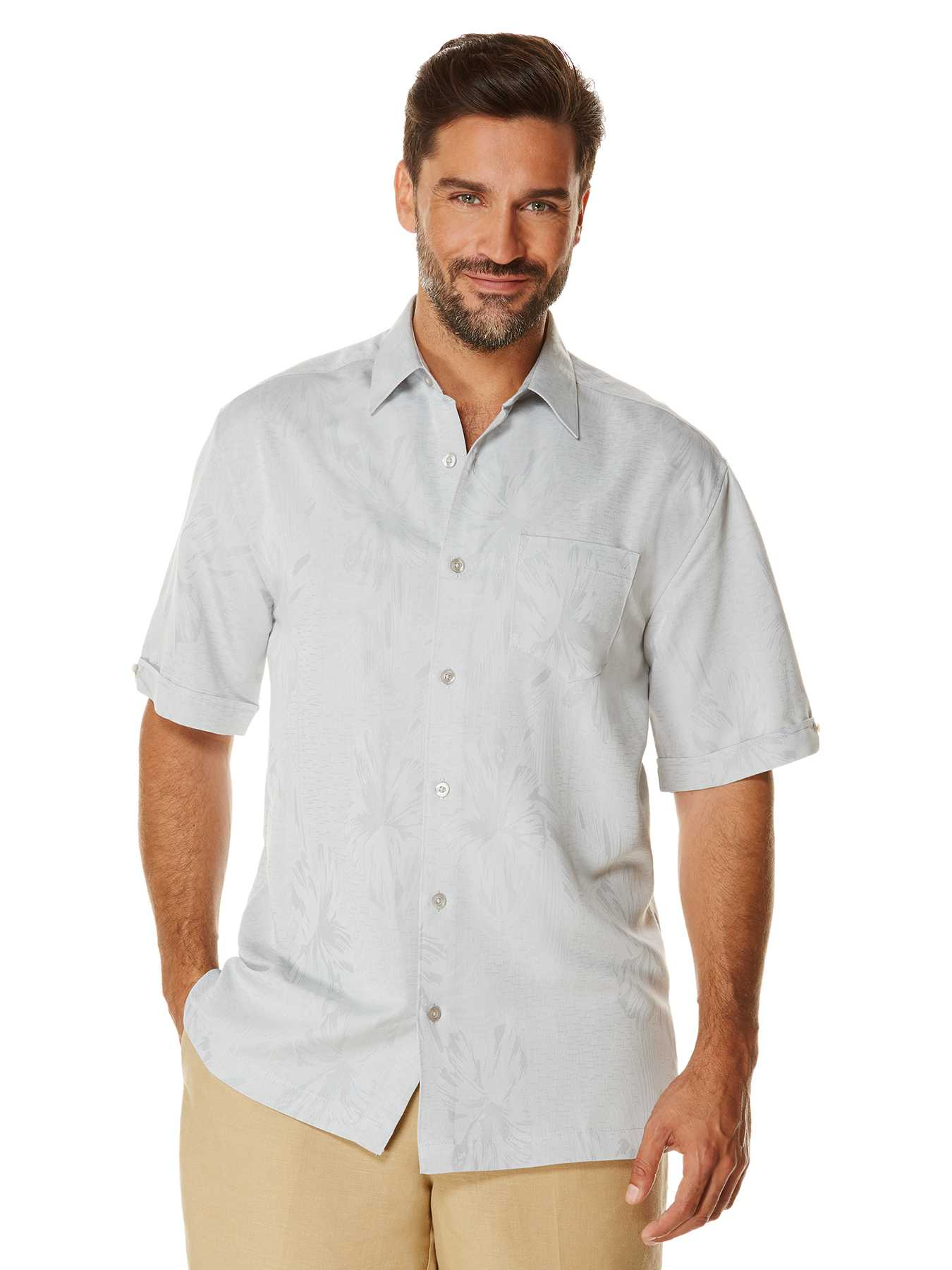 Cubavera Short Sleeve Floral Jacquard Pocket Shirt