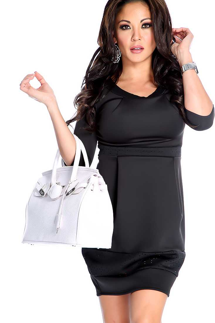 Black Perforated Short Sleeve Party Dress