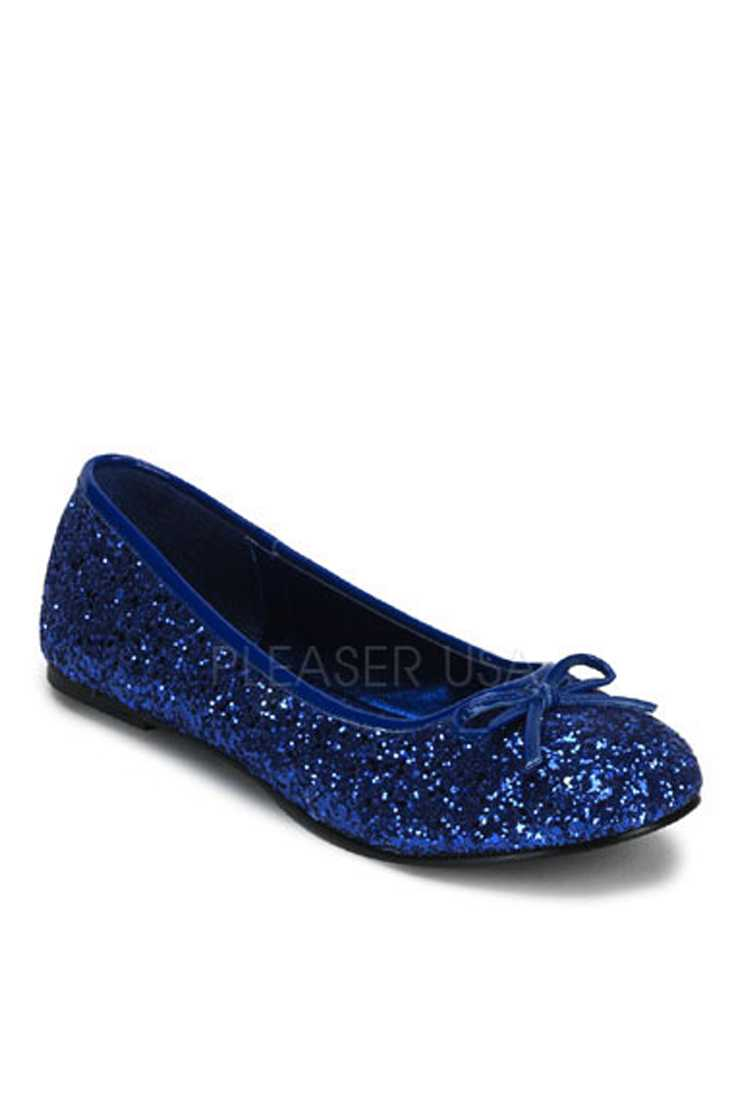 Blue Bow Tie Closed Toe Flats Glitter