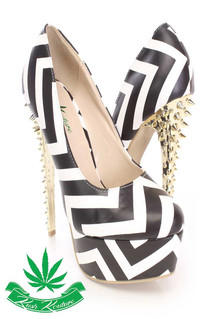 Black White Spikey Platform Pump High Heels Faux Leather