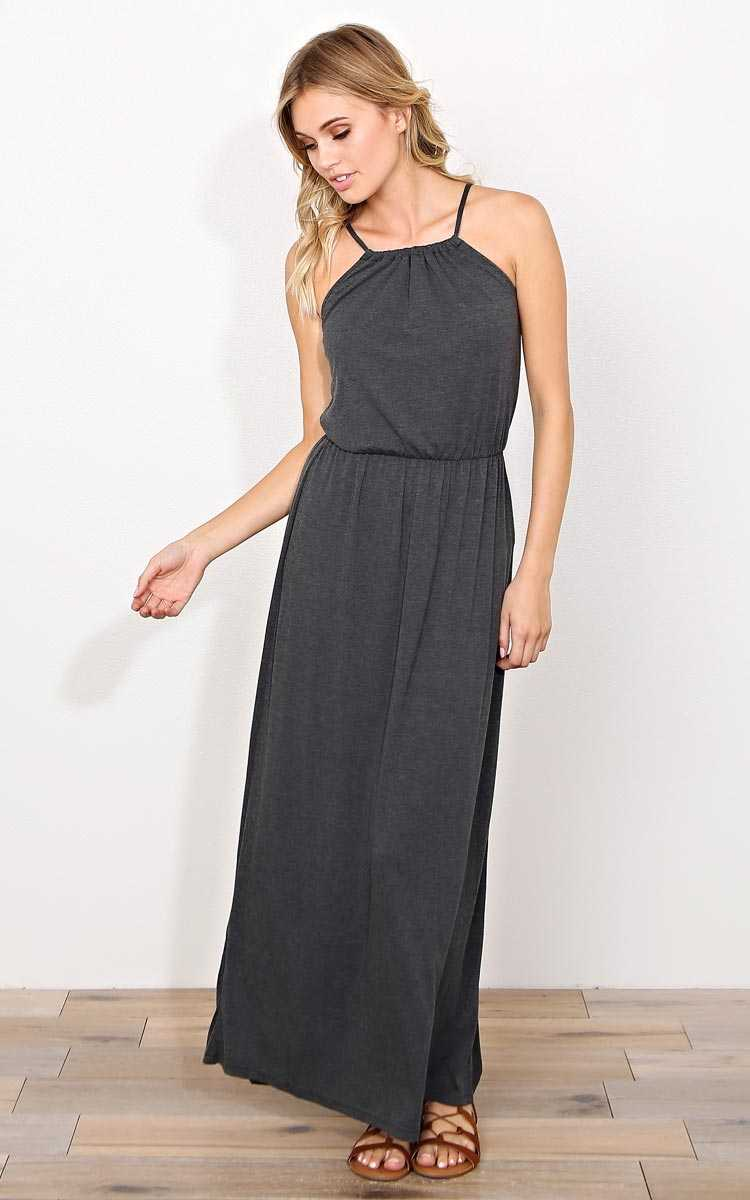 Charcoal Montenegro High Neck Maxi Dress - - Charcoal in Size by Styles For Less
