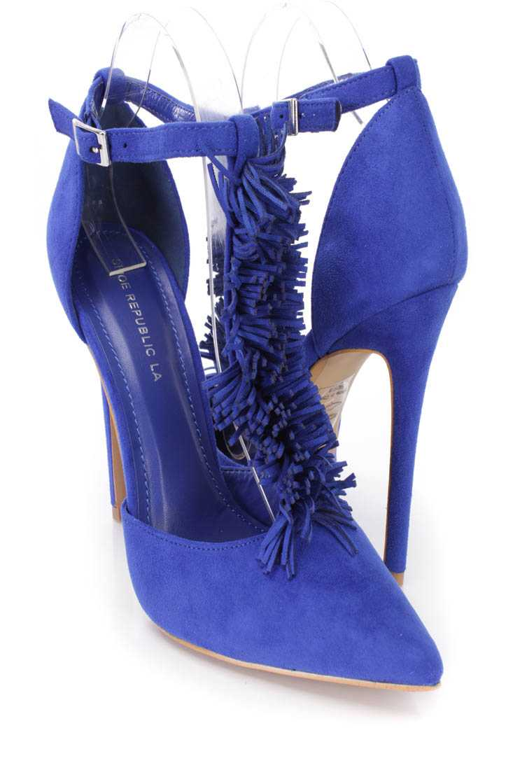 Blue Fringe T-strap Single Sole Heels Faux Suede