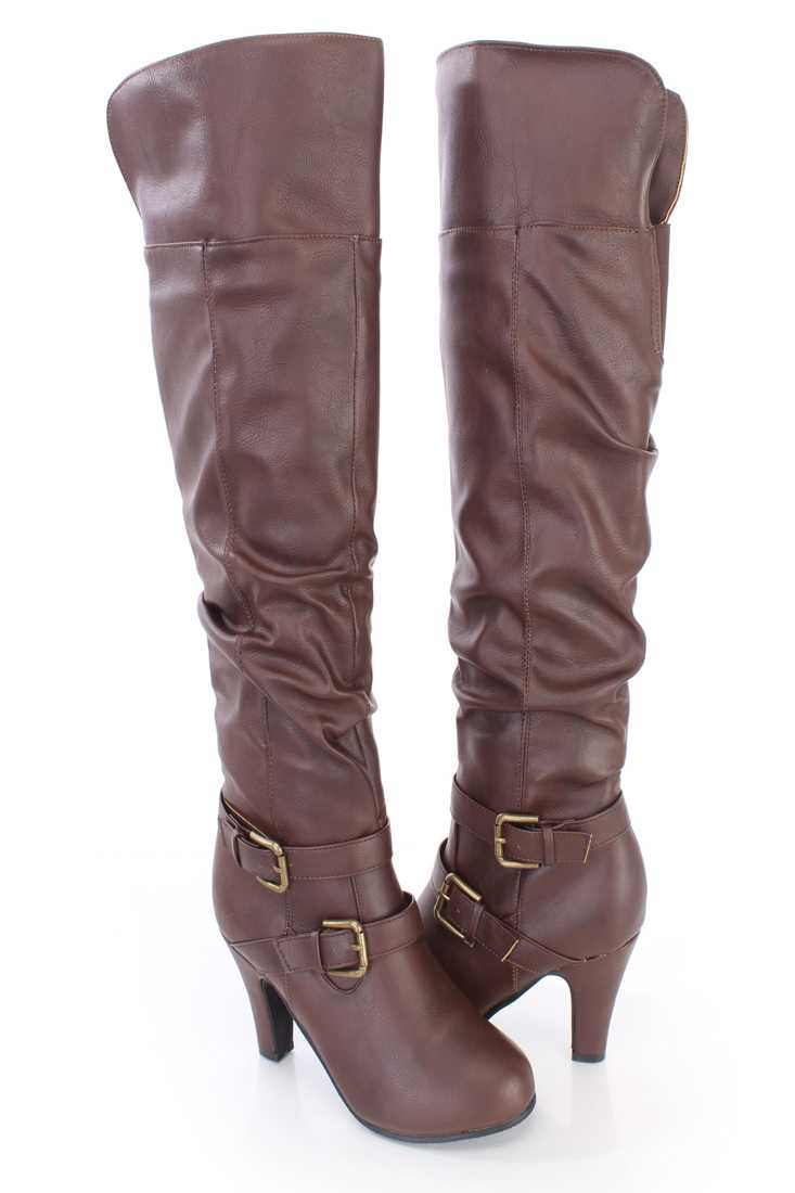 Brown Knee High Strappy Slouchy Boots Faux Leather