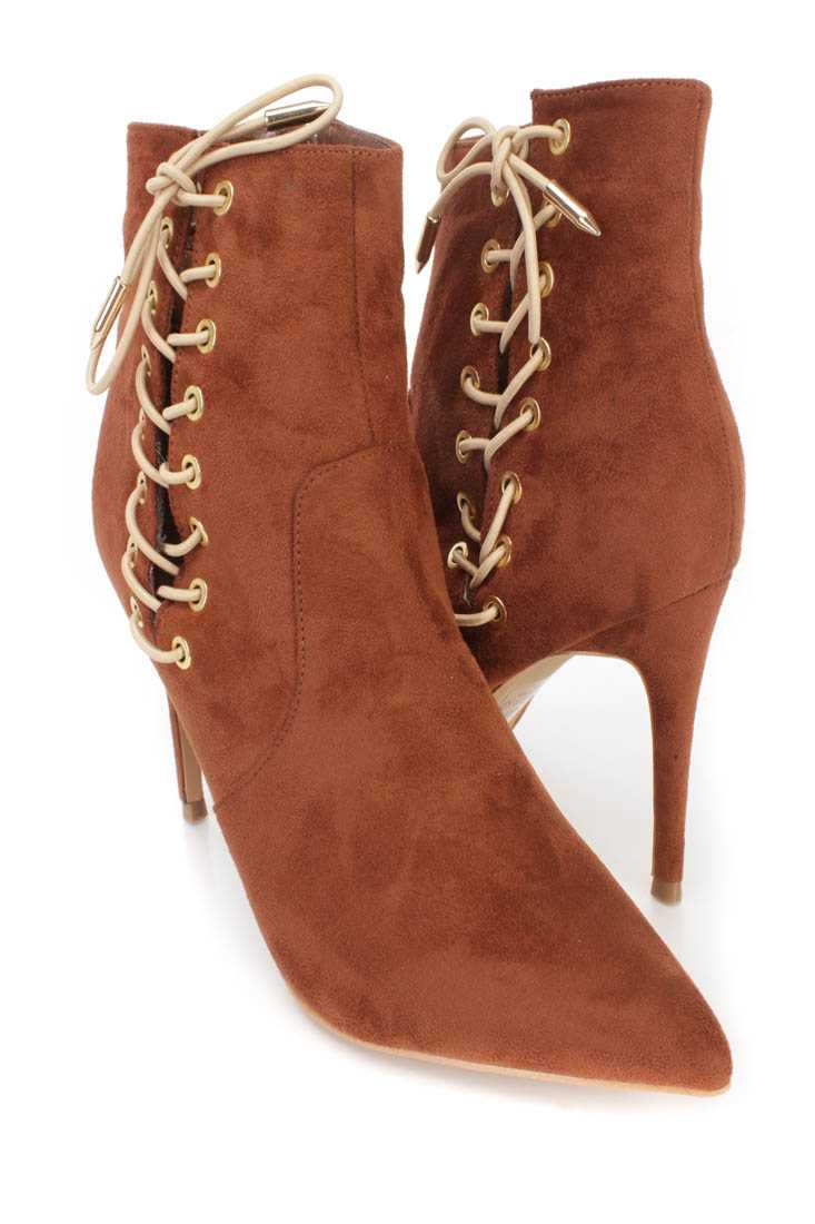 Brown Lace Up Single Sole Ankle Booties Faux Suede