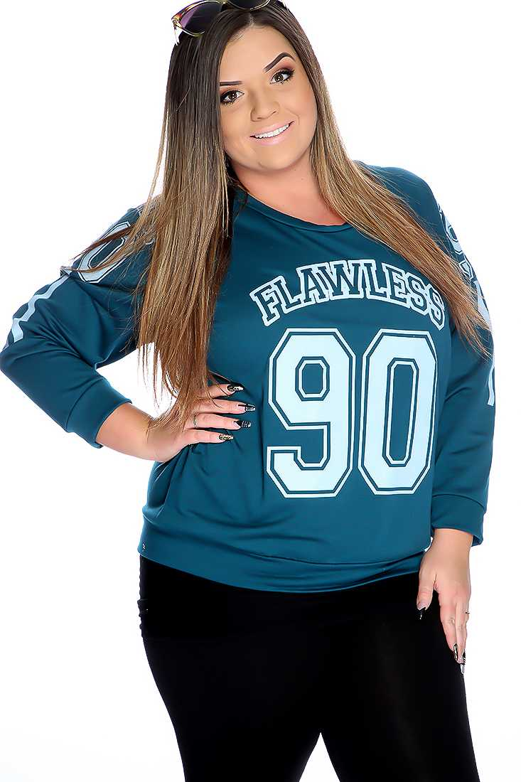 Teal Graphic Design Pull Over Plus Size Sweater
