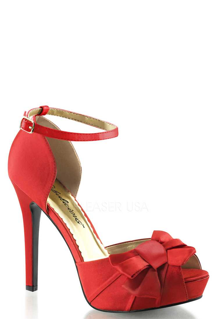 Red Bow Accent Peep Toe High Heels Satin