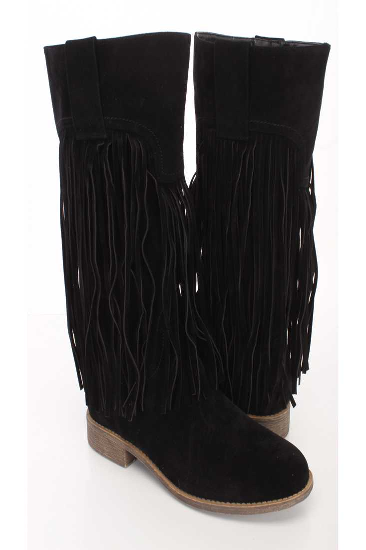 Black Fringe Closed Toe Mid Calf Boots Faux Suede