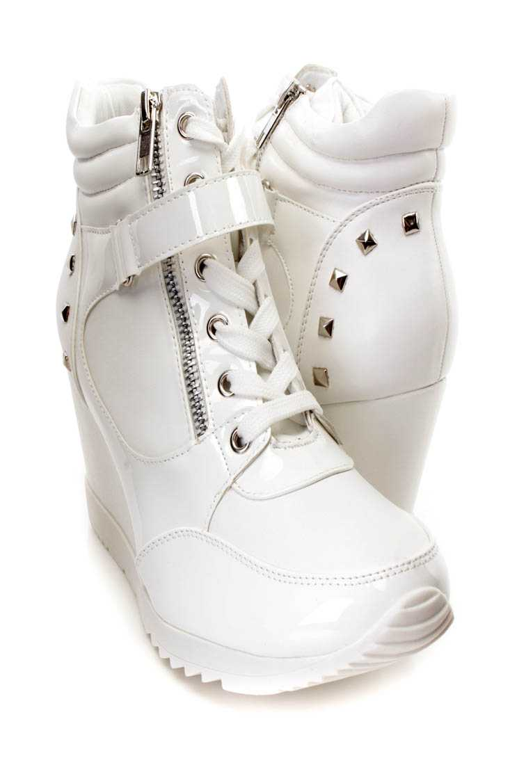 White Studded Mid Strap Sneaker Wedges Faux Leather