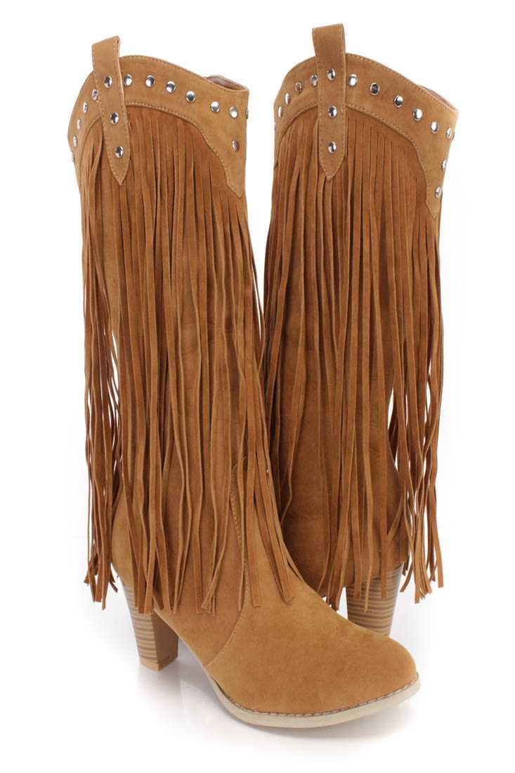 Tan Studded Long Fringe Western Boots Faux Suede