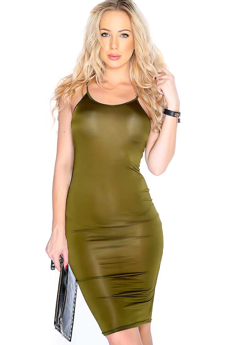 Sexy Olive Sleeveless Strappy Back Bodycon Party Dress