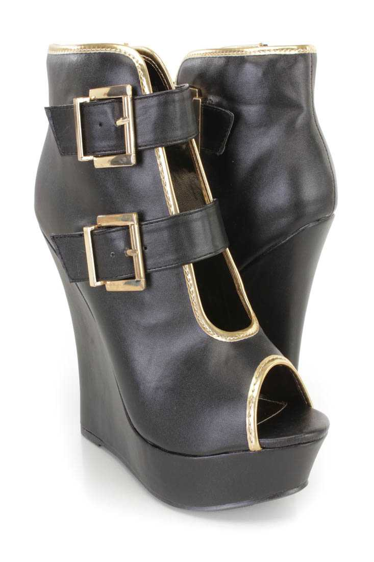 Black Buckle Accents Peep Toe Platform Wedges Faux Leather