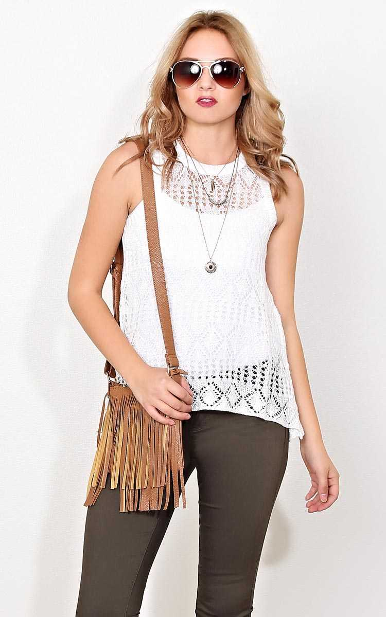 Hannah Eyelet Knit Top - MED - Cream in Size Medium by Styles For Less